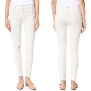 MOTHER The Double Fray Charmer Jeans Warm Ivory